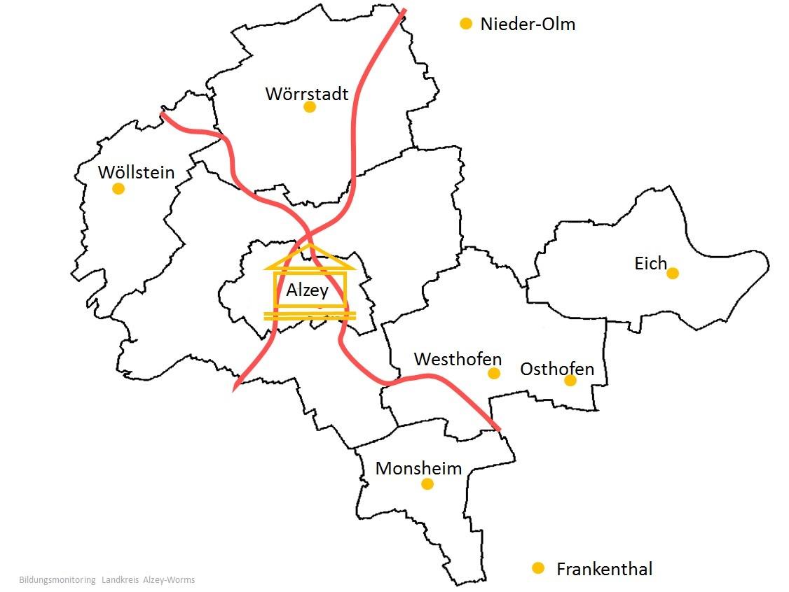 Karte Landkreis Alzey-Worms